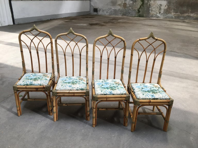 Late 20th Century Mid-Century Modern Italian Set of 4 Bamboo Dining Chairs, 1970s For Sale