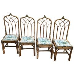Mid-Century Modern Italian Set of 4 Bamboo Dining Chairs, 1970s