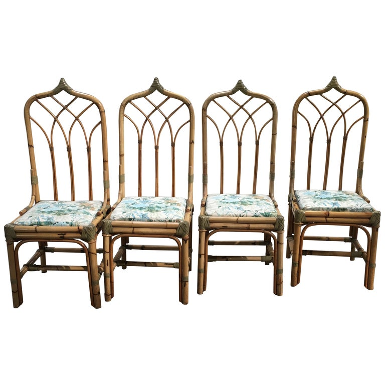 Mid-Century Modern Italian Set of 4 Bamboo Dining Chairs, 1970s For Sale