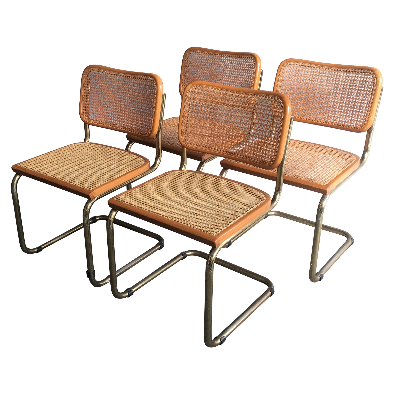 Mid-Century Modern Italian Set of 4 Cesca Chairs by Marcel Breuer, 1970s
