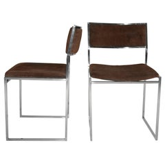 Mid-Century Modern Italian Set of 4 Chairs by Willy Rizzo, 1970s