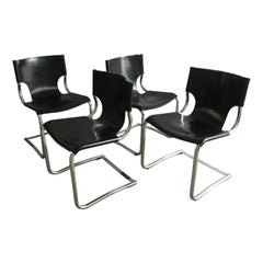 Mid-Century Modern Italian Set of 4 Chrome and Leather Chairs