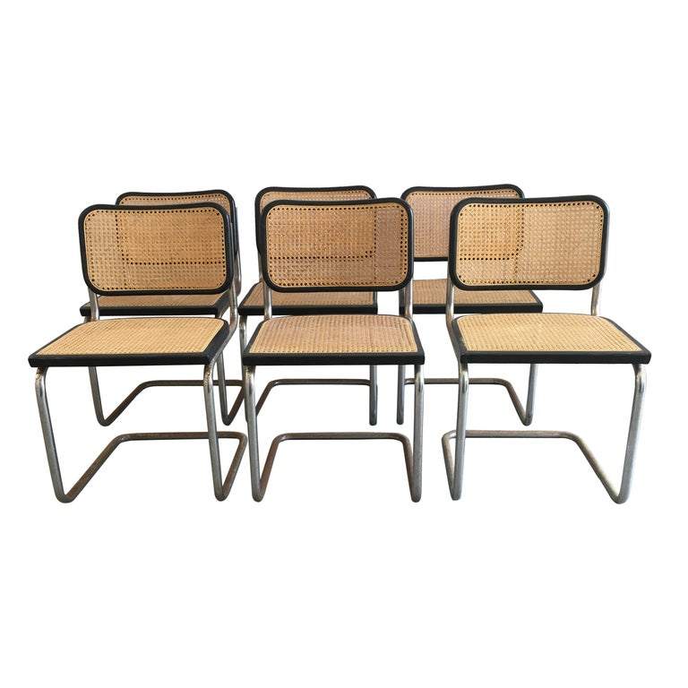 "Mid-Century Modern Italian Set of 6 Chrome ""Cesca"" Chair by Marcel Breuer, 1970s"