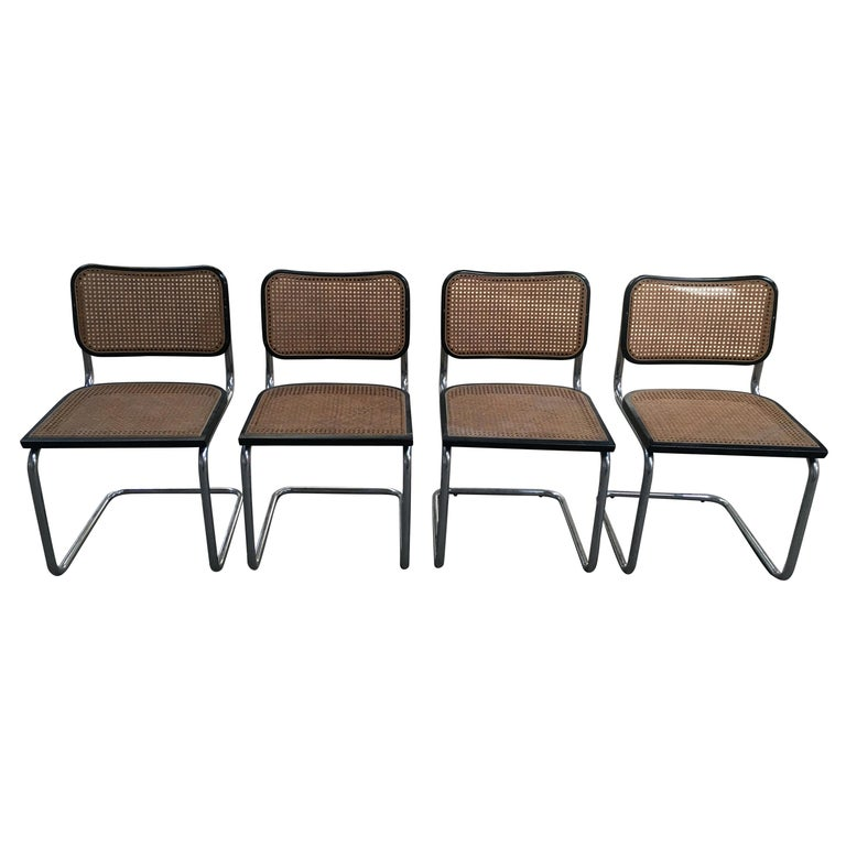 "Mid-Century Modern Italian Set of 4 Chrome ""Cesca"" Chairs, 1970s For Sale"