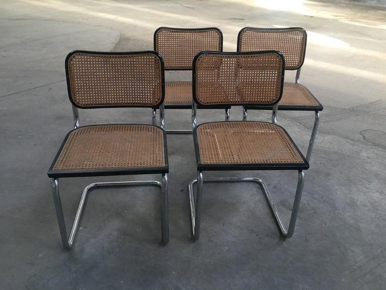 Lacquered Mid-Century Modern Italian Set of 4 Chrome