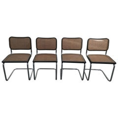 "Mid-Century Modern Italian Set of 4 Chrome ""Cesca"" Chairs by Marcel Breuer 1970s"