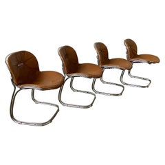 "Mid-Century Modern Italian Set of 4 Gastone Rinaldi ""Sabrina"" Leather Chairs"