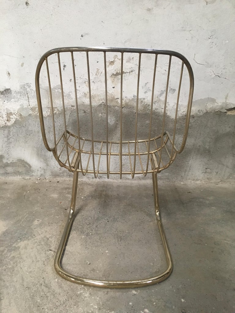 Mid-Century Modern Italian Set of 4 Gilt Metal Chairs, 1970s For Sale 1