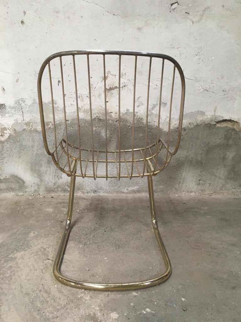 Mid-Century Modern Italian Set of 4 Gilt Metal Chairs, 1970s For Sale 3