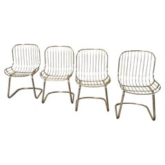 Mid-Century Modern Italian Set of 4 Gilt Metal Chairs, 1970s