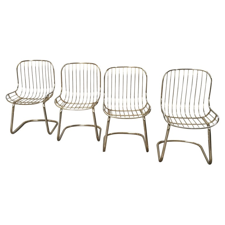 Mid-Century Modern Italian Set of 4 Gilt Metal Chairs, 1970s For Sale