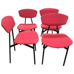 Mid-Century Modern Italian Set of 4 Iron Chairs with Original Red Upholstery