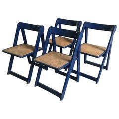 "Mid-Century Modern Italian Set of 4 Jacober & D'aniello ""Trieste"" Folding Chairs"