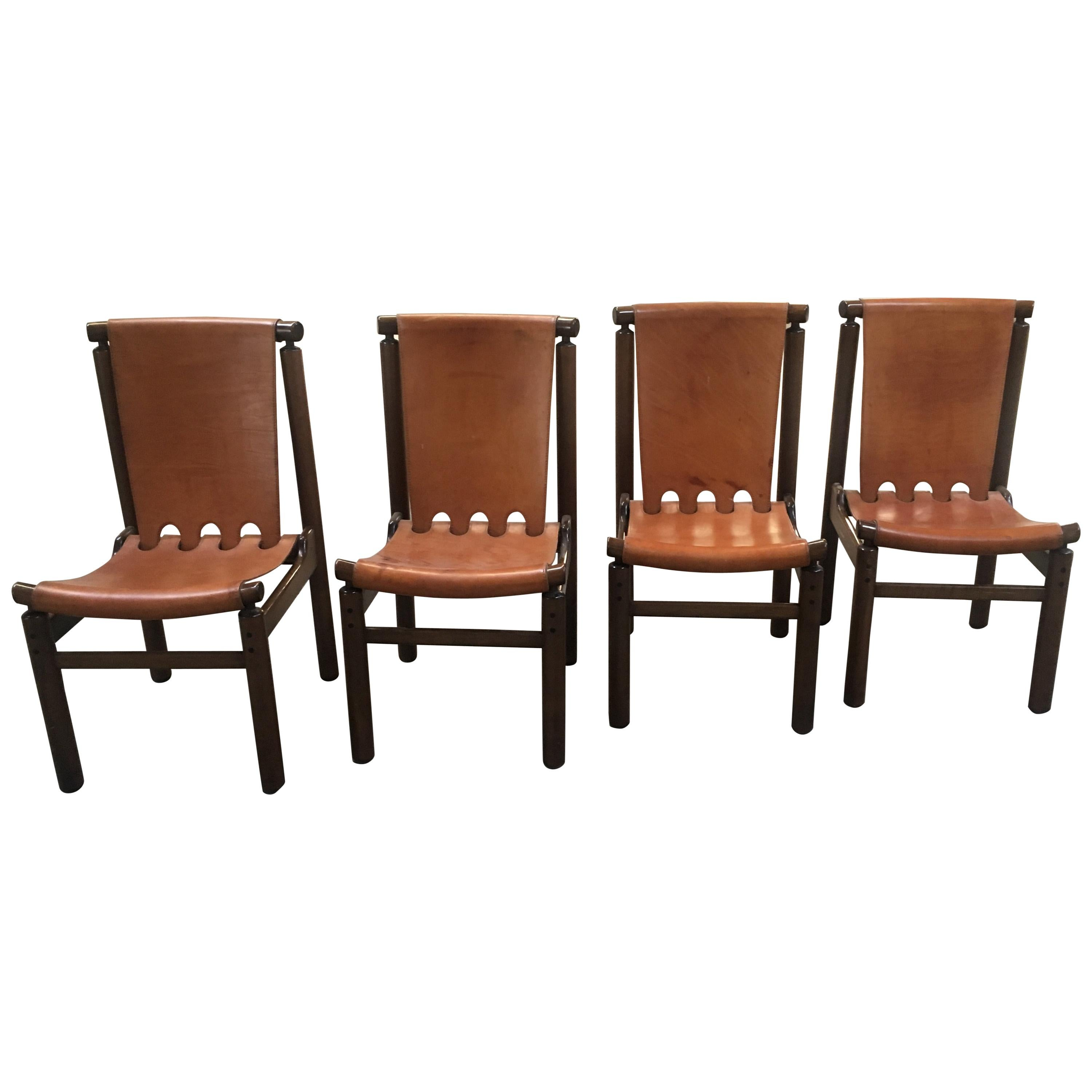 Mid-Century Modern Italian Set of 4 Leather and Wood Chairs by Tapiovaara, 1950s
