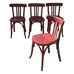 Mid-Century Modern Italian Set of 4 Painted Wooden Chairs, 1950s