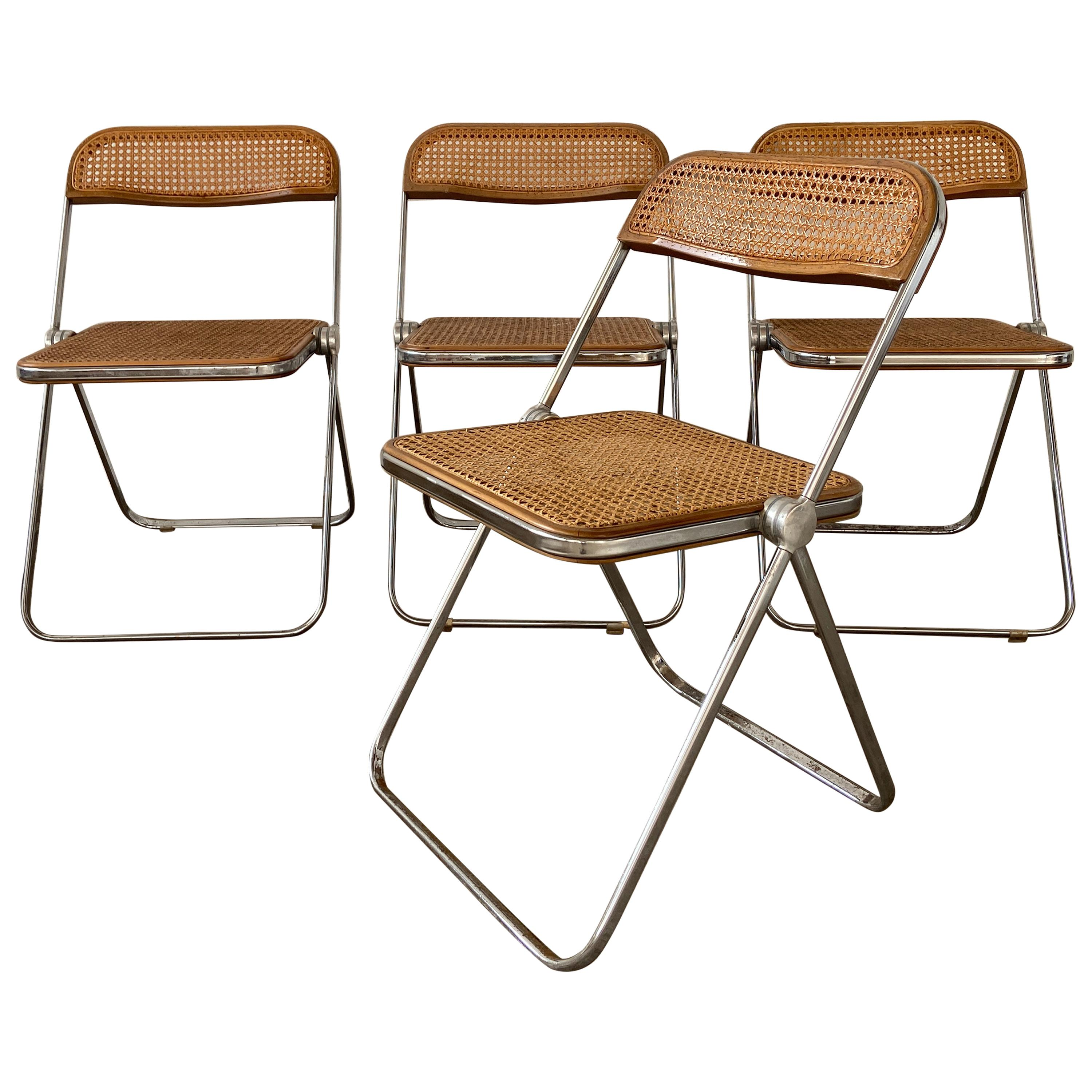 "Mid-Century Modern Italian Set of 4 ""Plia"" Folding Chairs by Giancarlo Piretti"
