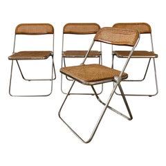 "Mid-Century Modern Italian Set of 4 ""Plia"" Folding Chairs by Giancarlo Piretti"
