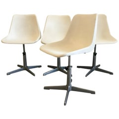Mid-Century Modern Italian Set of 4 Robin Day Rotating Chairs, 1960s