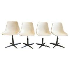 Mid-Century Modern Italian Set of 4 Robin Day Rotating Chairs, 1960s
