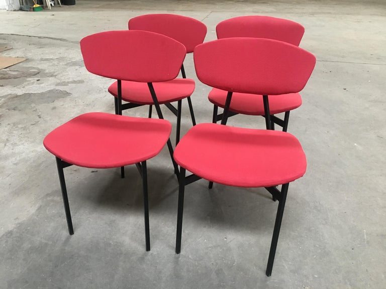 Fabric Mid-Century Modern Italian Set of 4 Upholstered Chairs with Black Iron Structure For Sale