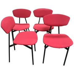 Mid-Century Modern Italian Set of 4 Upholstered Chairs with Black Iron Structure