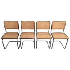 Mid-Century Modern Italian Set of 4 Walnut and Chrome Cesca Chairs, 1970s
