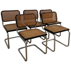 Mid-Century Modern Italian Set of 5 Cesca Chrome Chairs by Marcel Breuer, 1970s