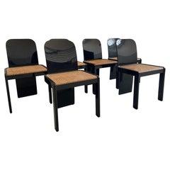 Mid-Century Modern Italian Set of 6 Black Wooden Chairs by Molinari, 1970s
