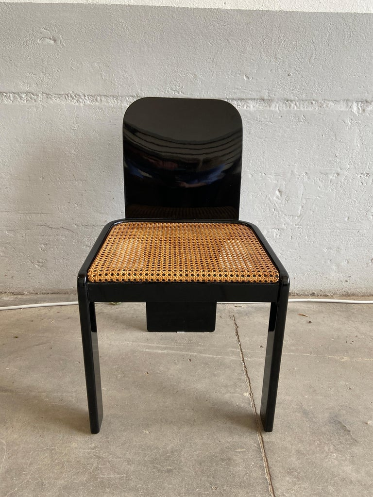 Mid-Century Modern Italian Set of 6 Black Wooden Chairs by Pozzi, 1970s For Sale 2