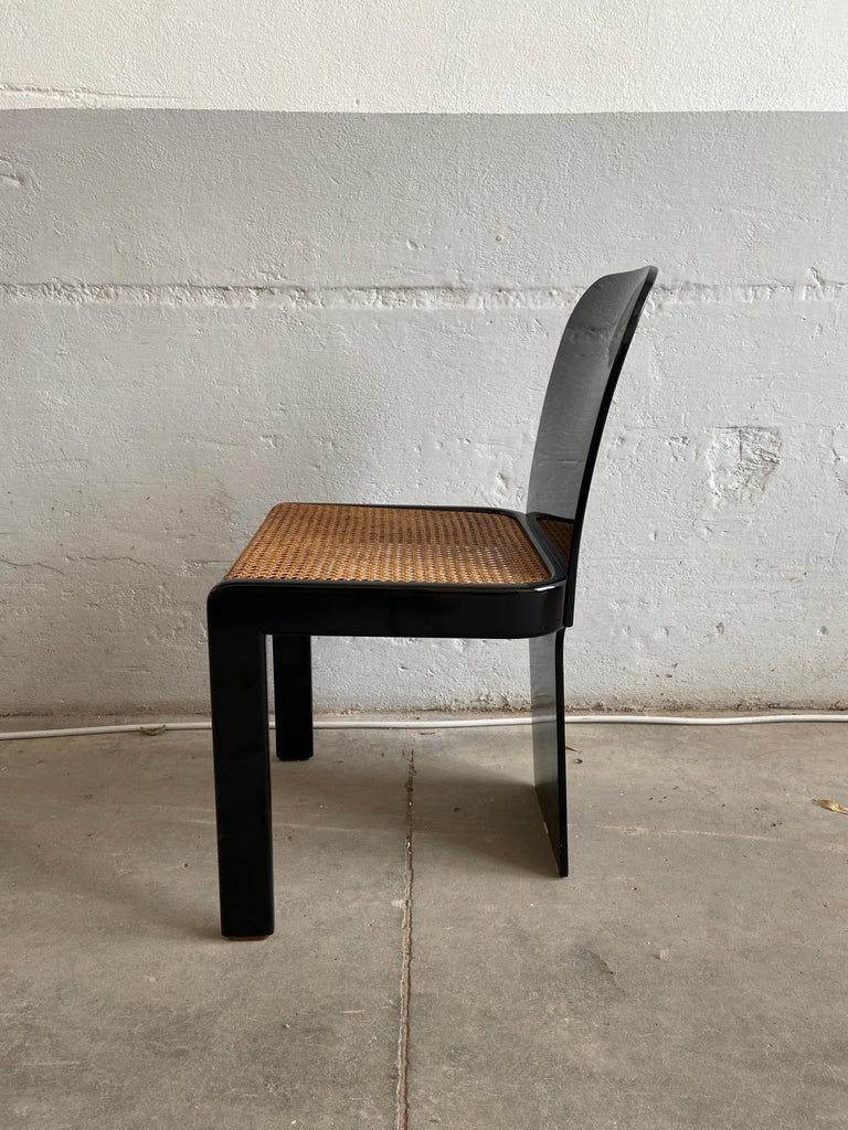 Mid-Century Modern Italian Set of 6 Black Wooden Chairs by Pozzi, 1970s For Sale 4
