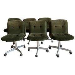 Mid-Century Modern Italian Set of 6 Chairs on Wheels, 1970s