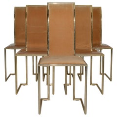 Mid-Century Modern Italian Set of 6 Dining Room Chairs by Pierre Cardin, 1980s