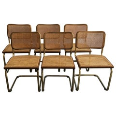 "Mid-Century Modern Italian Set of 6 Gilt Metal ""Cesca"" Chairs by Marcel Breuer"