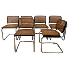 "Mid-Century Modern Italian Set of 6 Marcel Breuer Black ""Cesca"" Chairs"