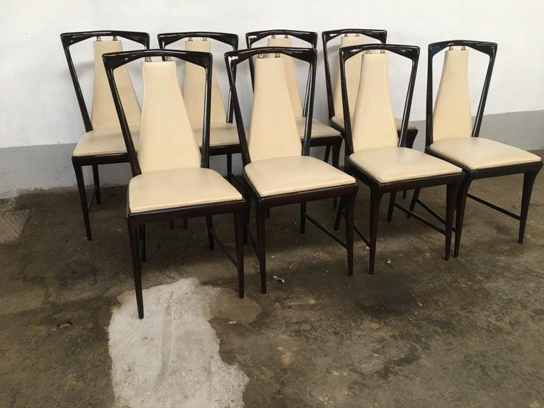 Mid-Century Modern Italian Set of 8 Mahogany Chairs by Osvaldo Borsani, 1950s For Sale 1