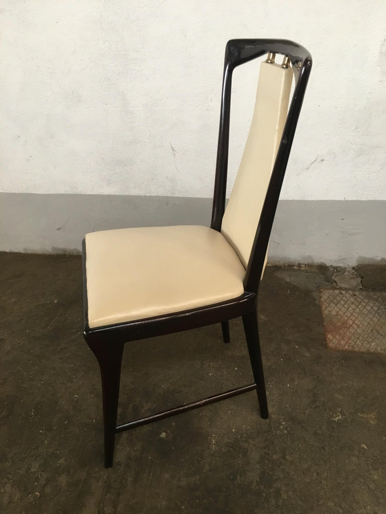 Mid-Century Modern Italian Set of 8 Mahogany Chairs by Osvaldo Borsani, 1950s For Sale 3
