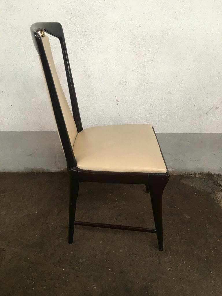 Mid-Century Modern Italian Set of 8 Mahogany Chairs by Osvaldo Borsani, 1950s For Sale 4