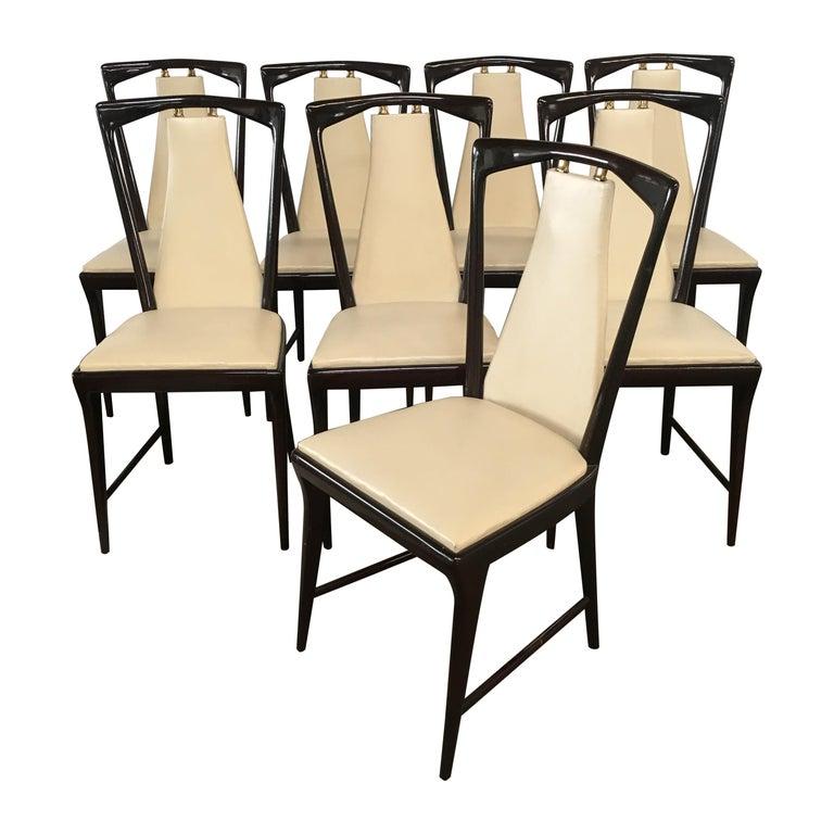 Mid-Century Modern Italian Set of 8 Mahogany Chairs by Osvaldo Borsani, 1950s For Sale