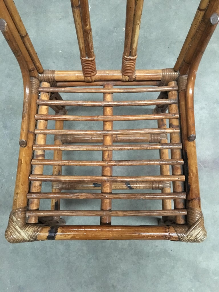 Mid-Century Modern Italian Set of Bamboo and Rattan Regency Style Chairs, 1960s For Sale 8