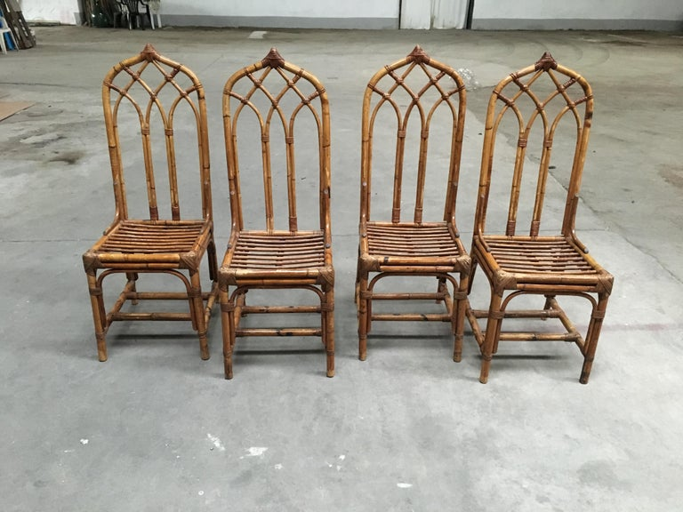Mid-Century Modern Italian set of bamboo and rattan Regency style chairs. 1960s.