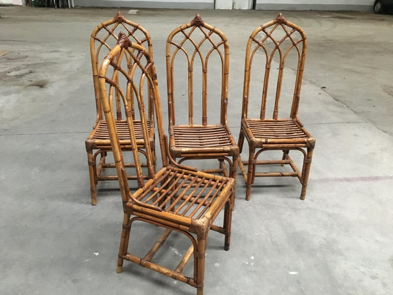 Mid-Century Modern Italian Set of Bamboo and Rattan Regency Style Chairs, 1960s In Good Condition For Sale In Prato, IT