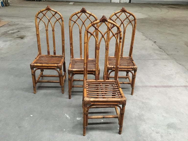 Mid-20th Century Mid-Century Modern Italian Set of Bamboo and Rattan Regency Style Chairs, 1960s For Sale