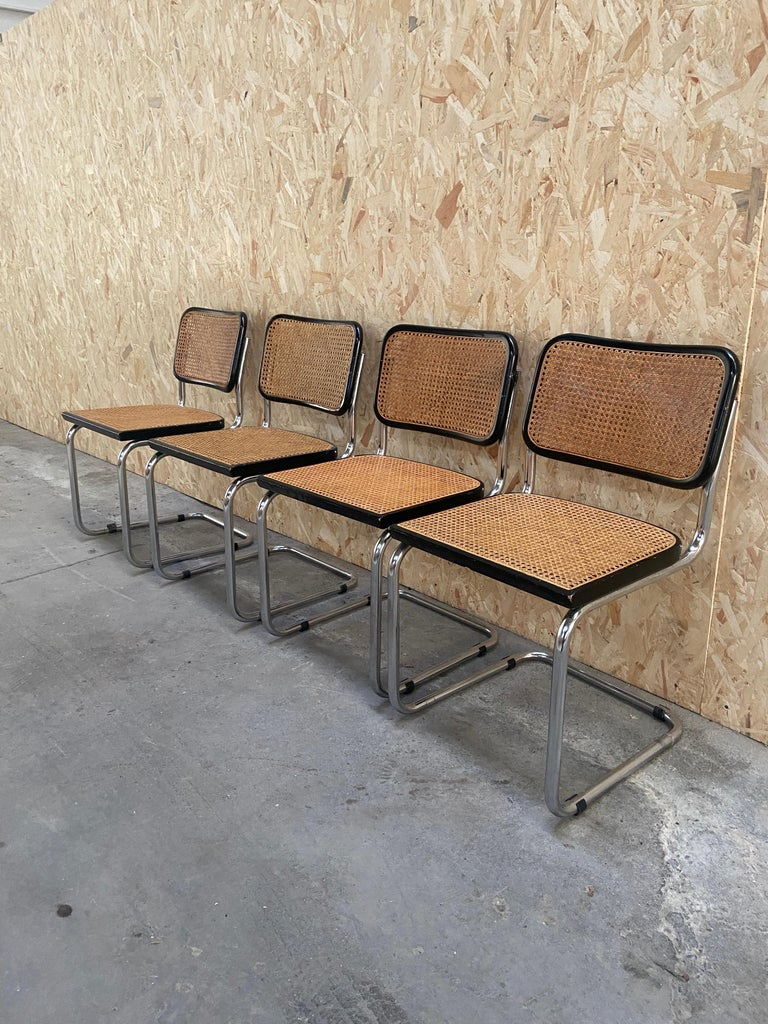 Mid-Century Modern Italian Set of Cesca Chairs by Marcel Breuer, 1970s In Good Condition For Sale In Prato, IT