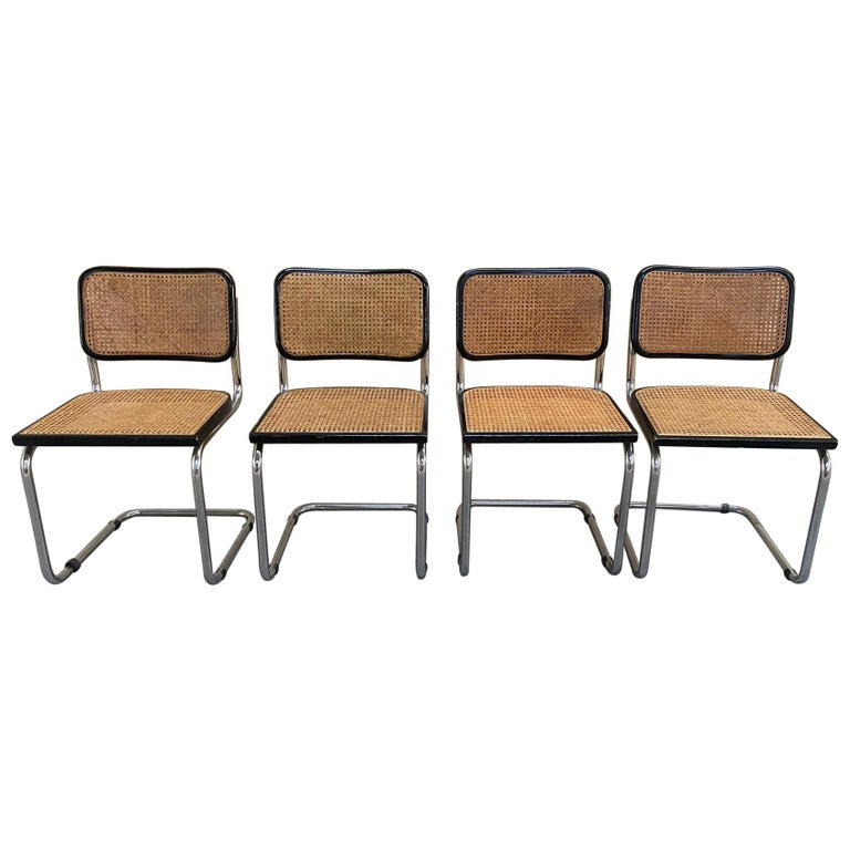 Mid-Century Modern Italian Set of Cesca Chairs by Marcel Breuer, 1970s For Sale