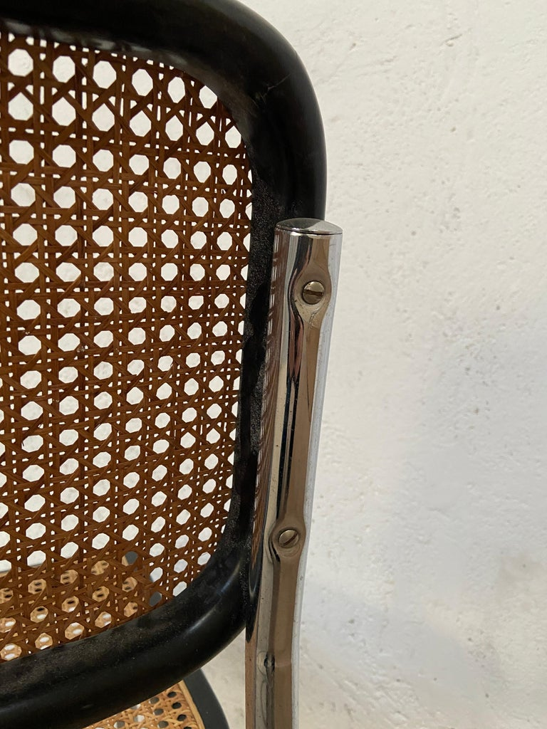 Mid-Century Modern Italian Set of Chrome and Black Cesca Chair by Marcel Breuer For Sale 4