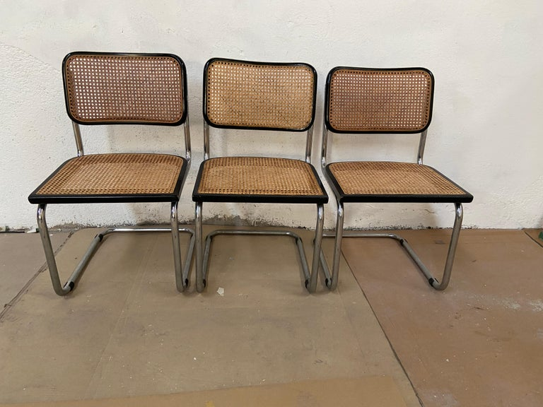 Lacquered Mid-Century Modern Italian Set of Chrome and Black Cesca Chair by Marcel Breuer For Sale