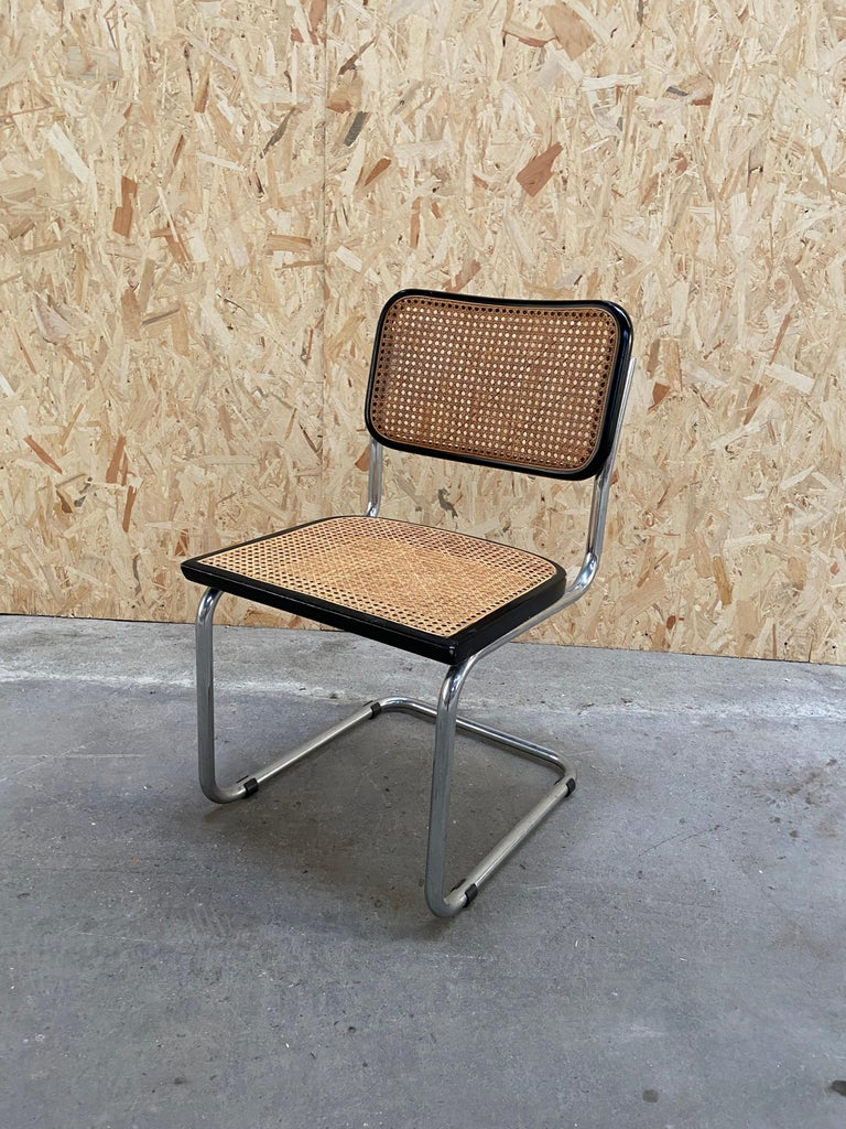 Mid-Century Modern Italian Set of Chrome and Black Cesca Chair by Marcel Breuer In Good Condition For Sale In Prato, IT