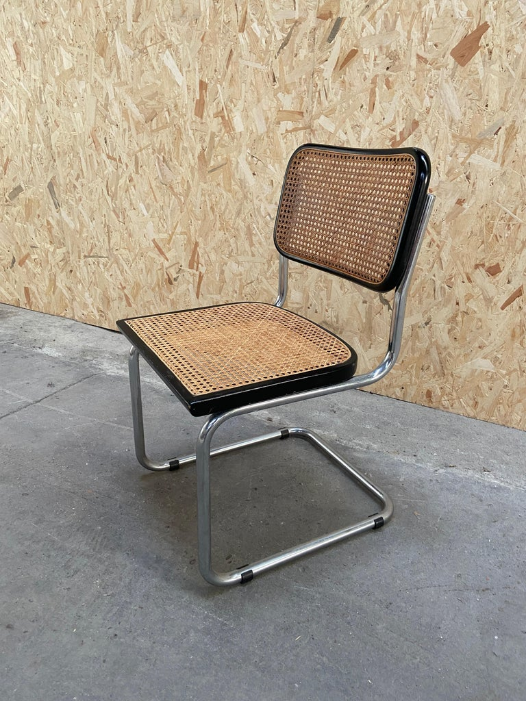 Late 20th Century Mid-Century Modern Italian Set of Chrome and Black Cesca Chair by Marcel Breuer For Sale
