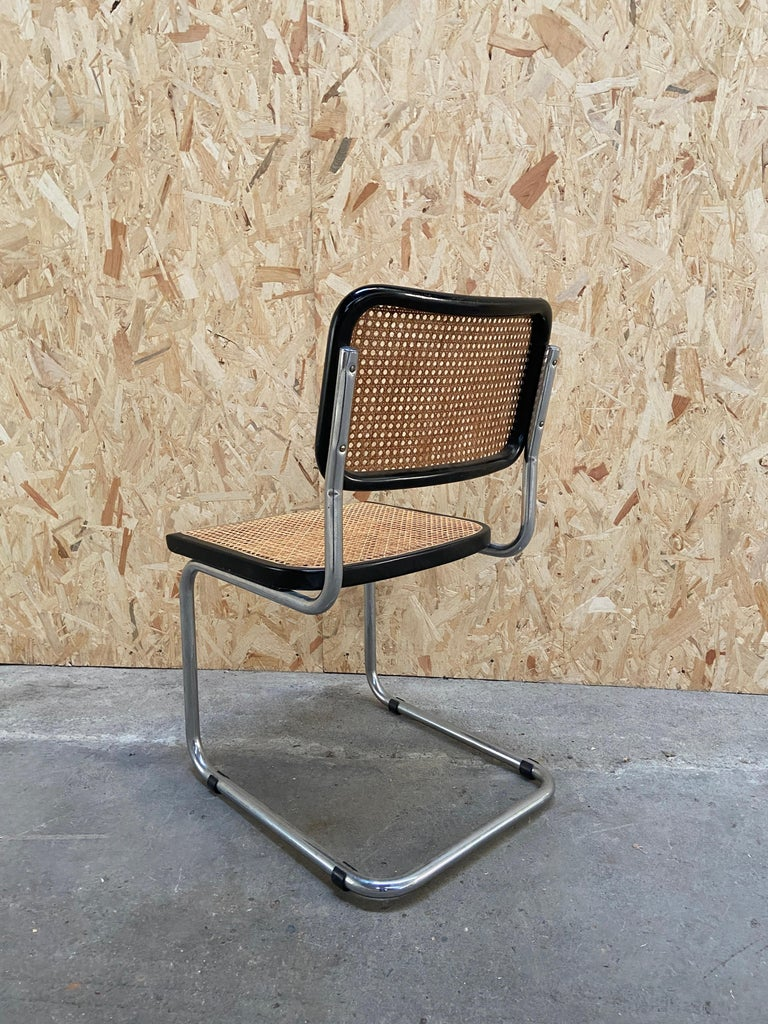 Wood Mid-Century Modern Italian Set of Chrome and Black Cesca Chair by Marcel Breuer For Sale