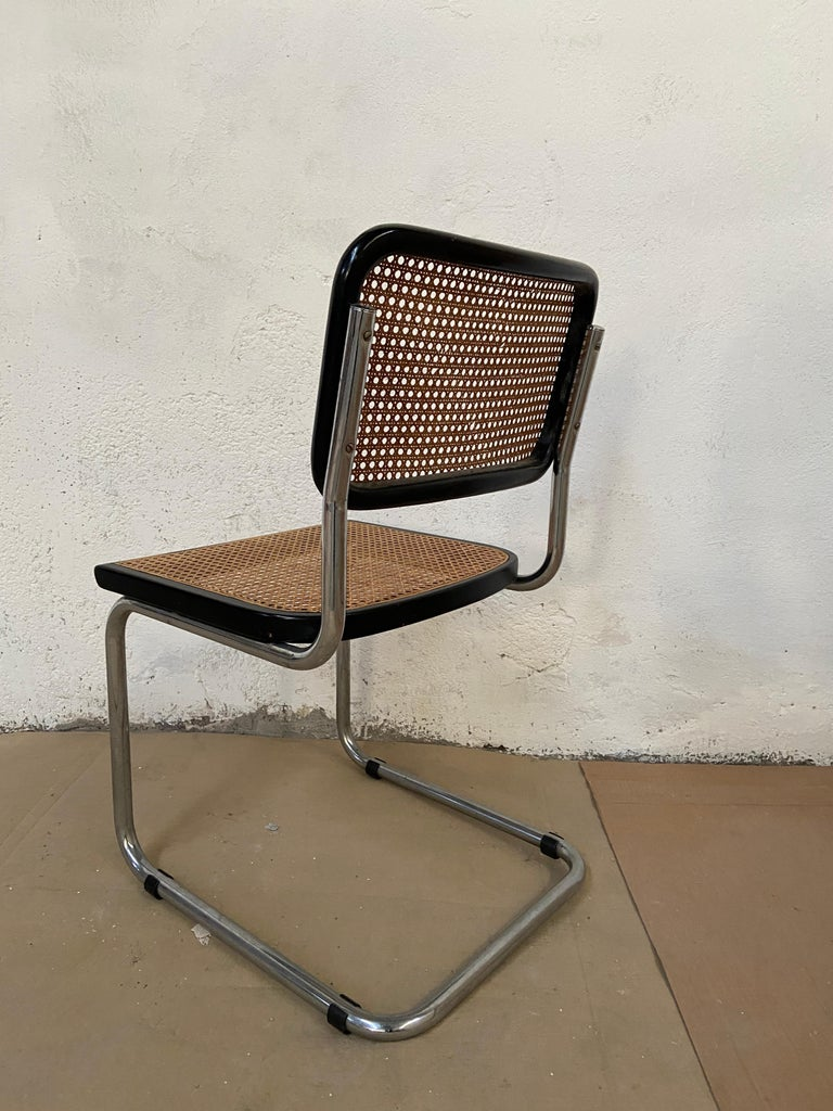 Mid-Century Modern Italian Set of Chrome and Black Cesca Chair by Marcel Breuer For Sale 1